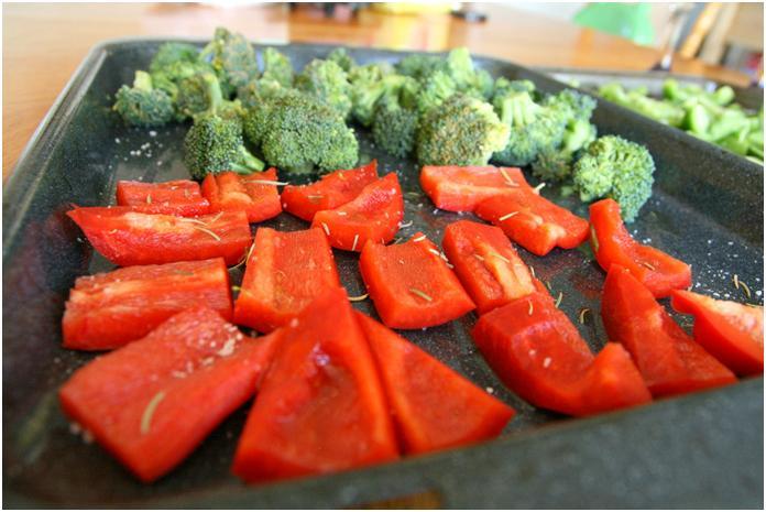 ירקות בדרך לתנור
